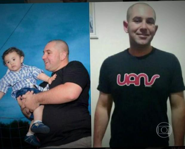 Douglas, antes e depois de perder quase 40 kg (Foto: TV Globo)
