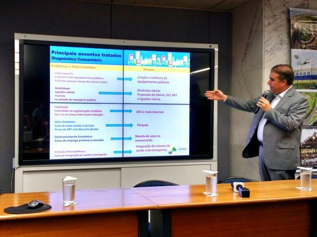 Jonas Donizette, prefeito de Campinas, apresenta propostas do novo Plano Diretor (Foto: Patrícia Teixeira / G1)