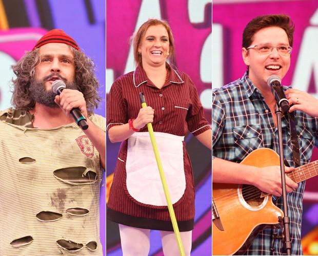 Trio de humoristas arrasa no palco do Domingão (Foto: Ellen Soares / Gshow)