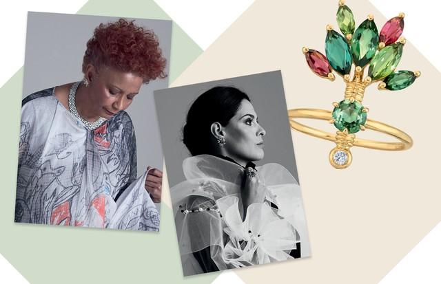 Sonia Gomes, Renata Queiroz de Moraes e anel Forest, de ouro, turmalinas verdes, rubelitas e diamantes (Foto: Bob Wolfenson e Divulgação)