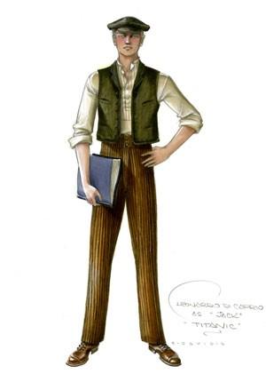 Desenho de look usado por Leonardo Di Caprio, que interpretou Jack na produção (Foto: Divulgação)