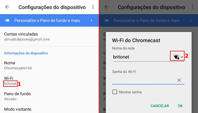 Acessando as configurações de rede Wi-fi do Chromecast  (Foto: Reprodução/Edivaldo Brito)