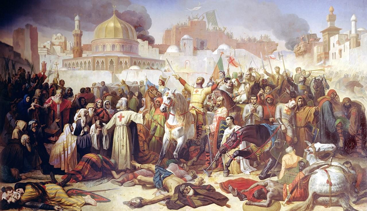 Pintura retrata a conquista de Jerusalém pelos cavaleiros cruzados (Foto: Reprodução)