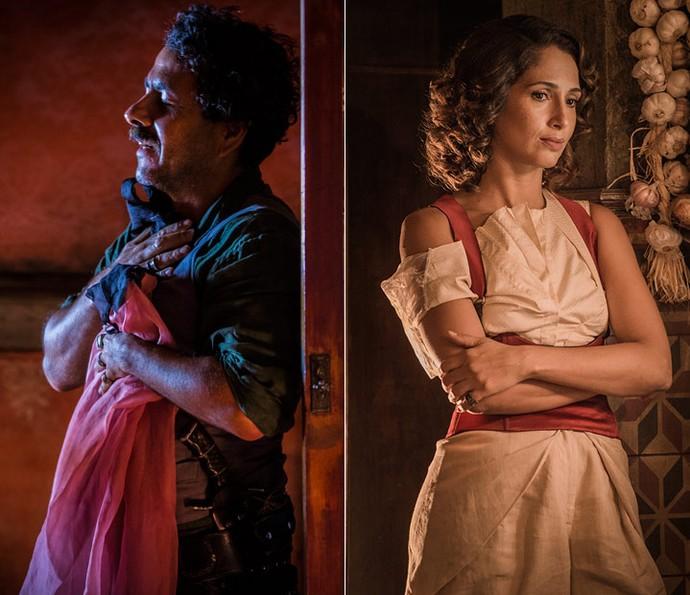 Cícero continua apaixonado por Tereza, mas ela não corresponde ao sentimento do amigo (Foto: Inácio Moraes/ Gshow e Caiuá Franco/ Globo)