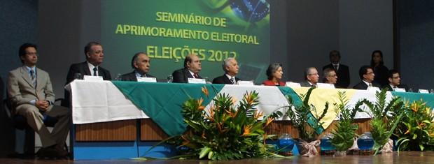 Evento reuniu juízes eleitorais e ministros do TSE (Foto: Krystine Carneiro/G1)