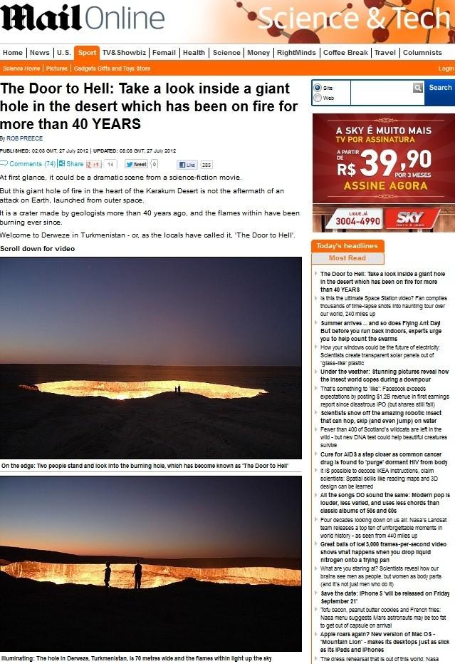 Cratera Turcomenistão (Foto: Daily Mail/Reprodução)