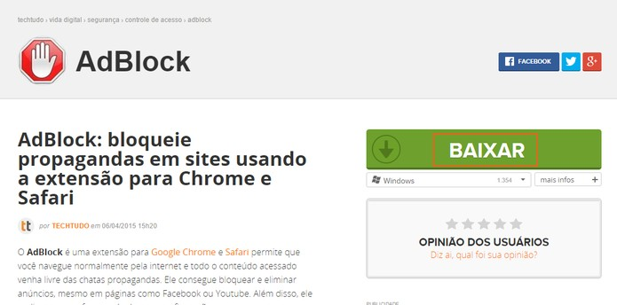Acesse a página do Adblock e selecione um dos itens para instalar no navegador (Foto: Reprodução/Barbara Mannara)