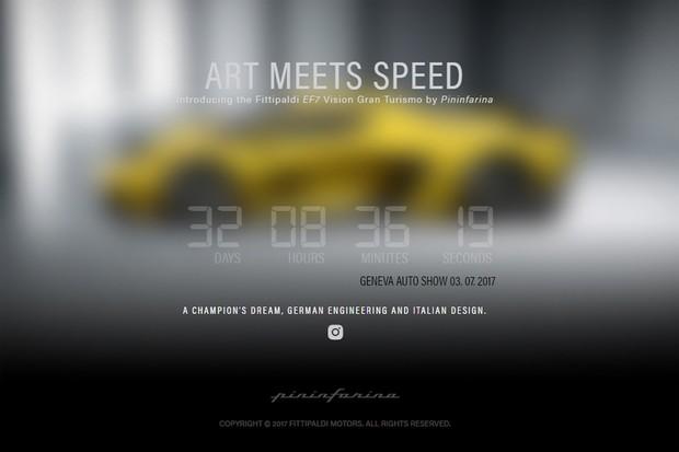 Contagem regressiva do tempo no site da Fittipaldi Motors (Foto: Divulgação)