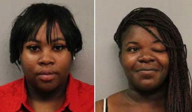 Johnesha Benford (esq) e Tamaria Sterling foram presas por jogar urina em rival (Foto: Nashville Police Department/Divulgação)
