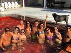 André Marques e Aline Riscado curtem piscina com amigos
