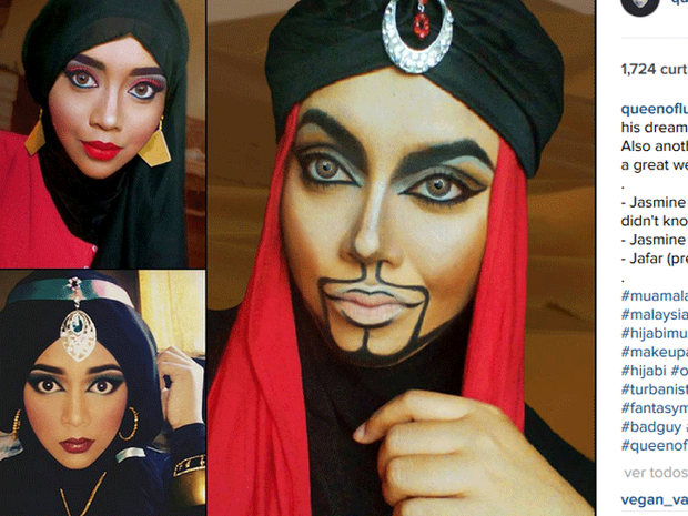 A artista se vestiu como Jafar e Jasmine, do desenho 'Aladdin' (Foto: Reprodução/Instagram/queenofluna)