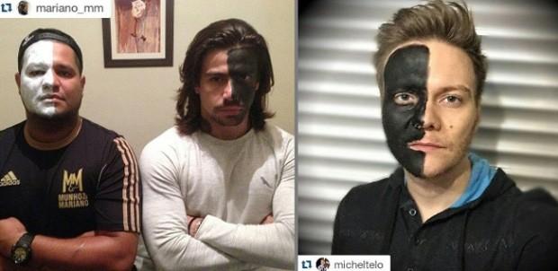 O cantor Mariano, à esq., e Michel Teló fizeram campanha contra o racismo em redes sociais (Foto: Reprodução/Instagram)