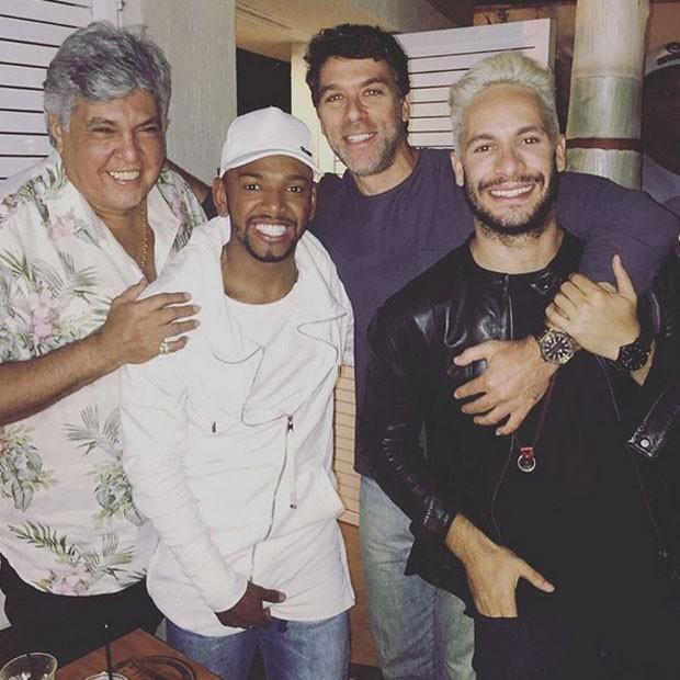Sidney Magal, Nego do Borel, Marcelinho e Rainer Cadete em festa no Rio (Foto: Instagram/ Reprodução)