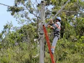 Servidores da CEB durante manutenção no DF (Foto: Pedro Ventura/Agência Brasília)