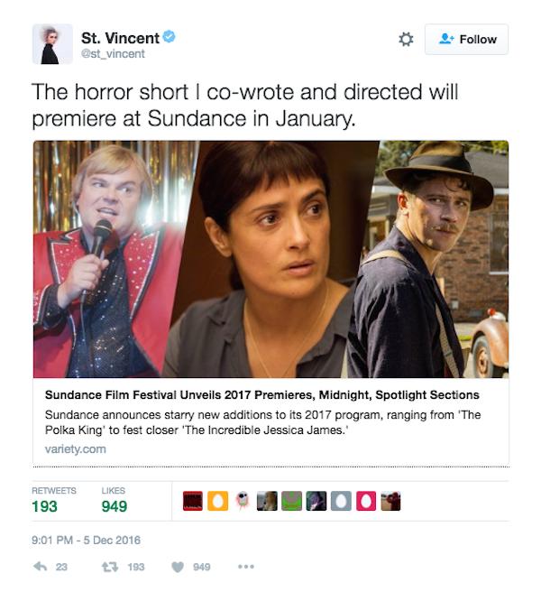A cantora St. Vincent fala sobre o filme que escreveu (Foto: Twitter)