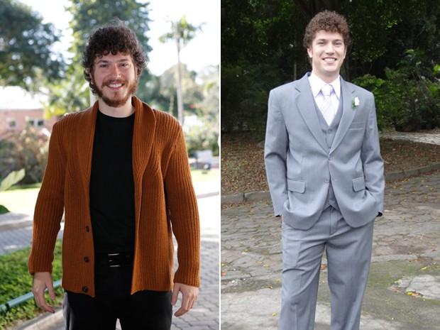 Antes e depois: Caio na coletiva de imprensa e ele na época de Malhação (Foto: Fábio Rocha/Gshow)