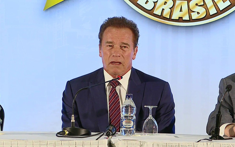 O ator Arnold Schwarzenegger em SP (Foto: Reprodução/ TV Globo )