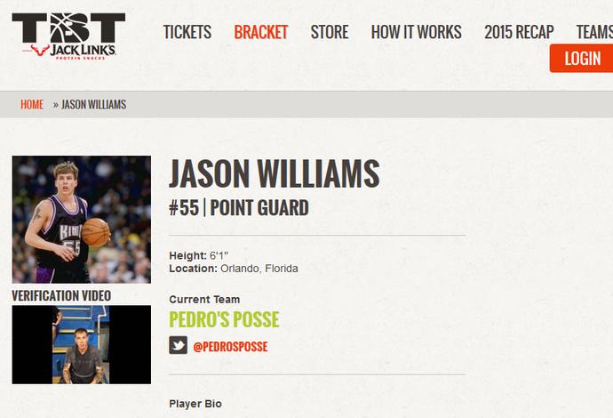 """A inscrição de Jason Williams no time """"Pedro's Posse"""" (Foto: Reprodução)"""