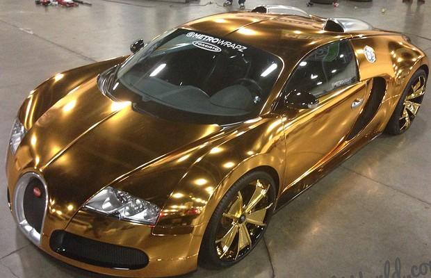 O Bugatti de ouro de Flo Rida (Foto: Reprodução)