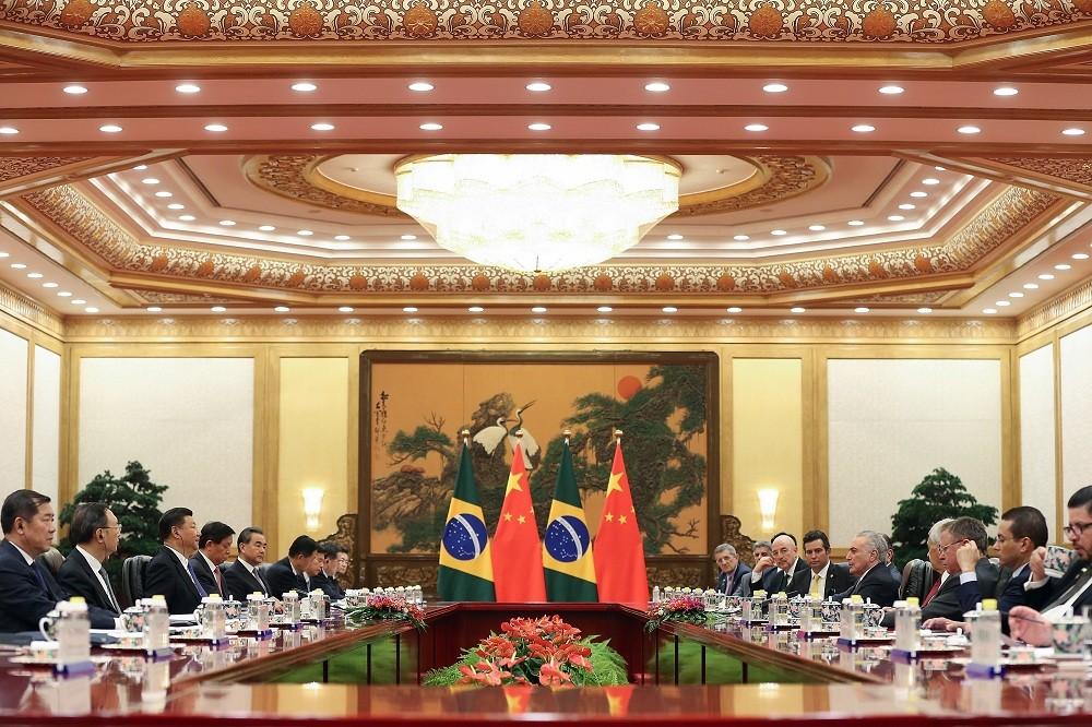 O presidente chinês Xi Jinping participa de reunião com o presidente brasileiro Michel Temer em Pequim, na China (Foto: Lintao Zhang/Pool/REUTERS)