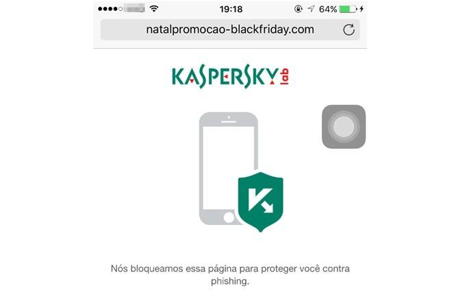 Exemplo de site bloqueado no SafeBrowser (Foto: Divulgação/Kaspersky Lab)