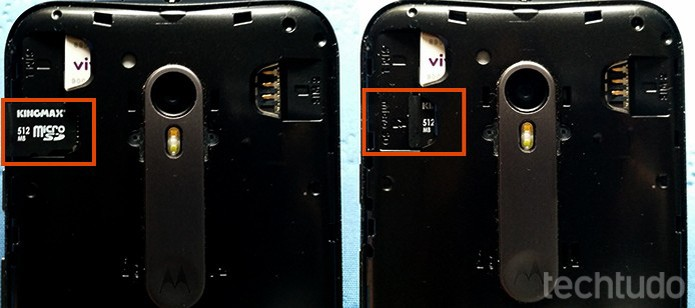 Insira o cartão microSD no Moto G 3 (Foto: Barbara Mannara/TechTudo)