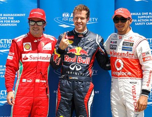 Vettel com Alonso e Hamilton no GP do Canadá (Foto: AP)