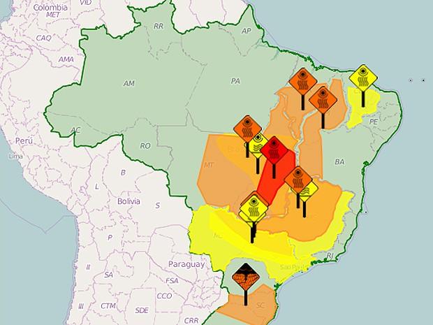 Zona de alerta sobre baixa umidade inclui mais de 100 municípios no Maranhão (Foto: Inmet)
