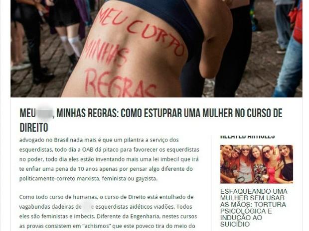 Site estimula estupro a alunos de Direito da UFC (Foto: Reprodução)