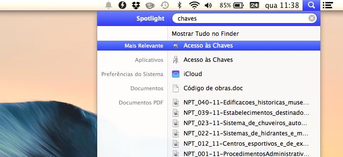 Executando gerenciador de senhas do OS X (Foto: Reprodução/Helito Bijora)