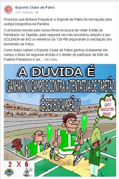Esporte de Patos, Nacional de Patos (Foto: Reprodução / Facebook)