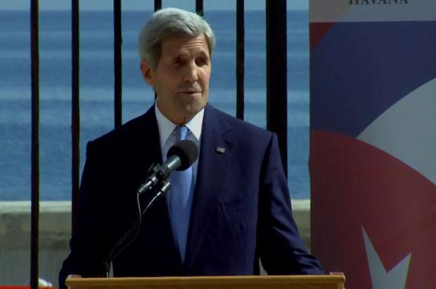 O secretário de Estado dos EUA, John Kerry, participa da inauguração formal da embaixada americana em Cuba (Foto: Reprodução/State.gov)
