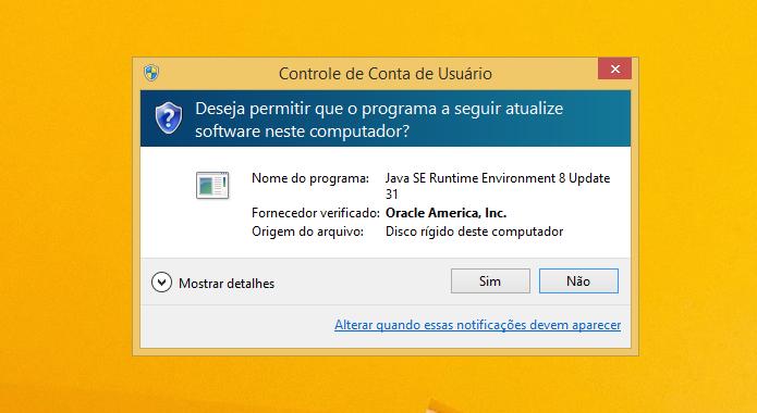Confirme a mensagem do UAC para permitir que o software modifique o computador (Foto: Reprodução/Helito Bijora)