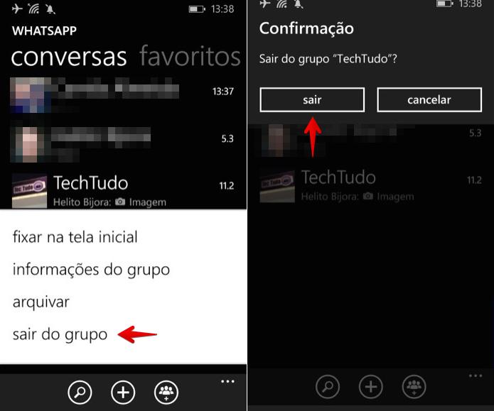 Saindo de um grupo no WhatsApp para Windows Phone (Foto: Reprodução/Helito Bijora)  (Foto: Saindo de um grupo no WhatsApp para Windows Phone (Foto: Reprodução/Helito Bijora) )