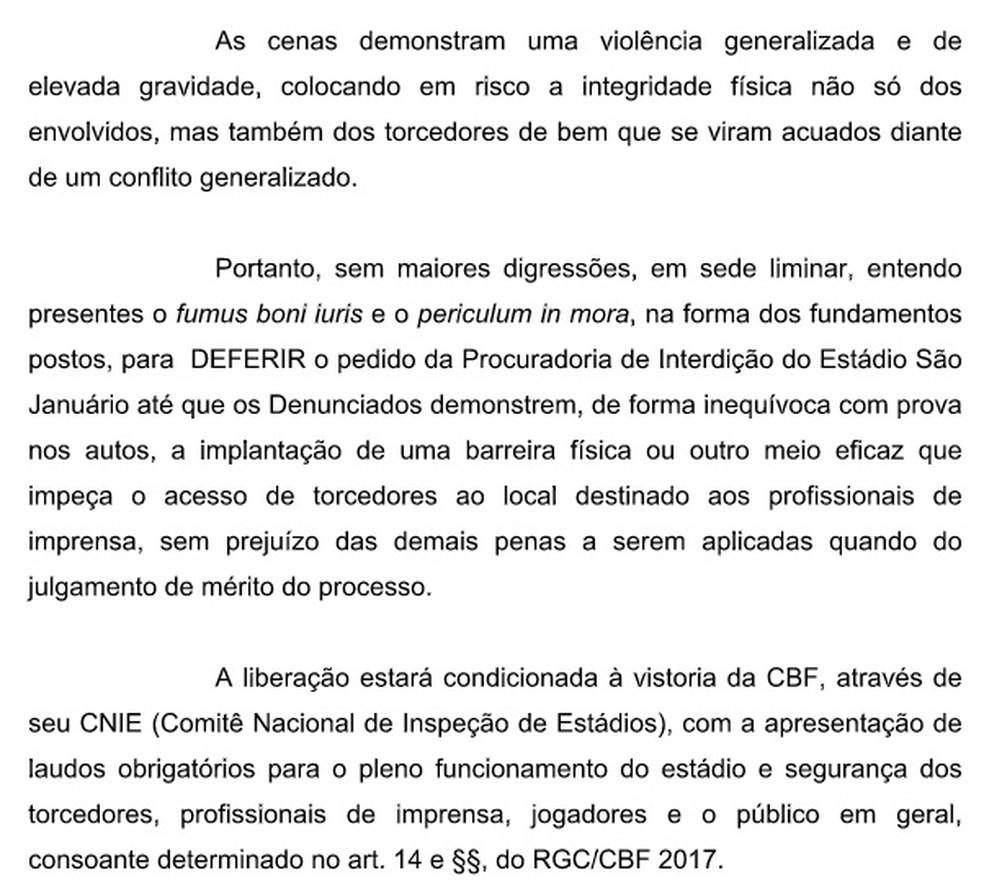 Despacho do STJD sobre interdição de São Januário (Foto: Reprodução)
