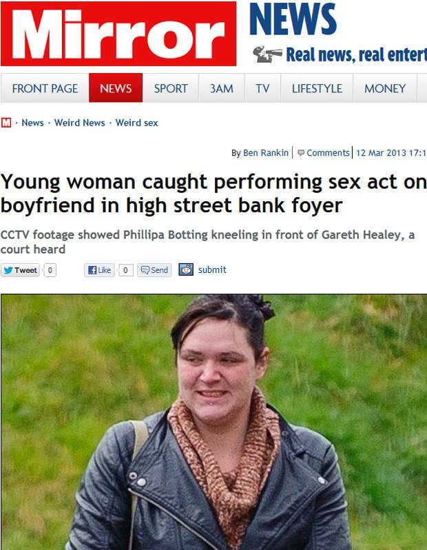 Phillipa Botting foi presa após um ato sexual com o namorado em público, realizado dentro de um banco (Foto: Reprodução)