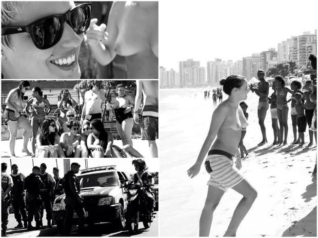 Mulheres fazem toplessaço na praia da Itapuã, em Vila Velha, Espírito Santo (Foto: André Alves/ VC no ESTV)