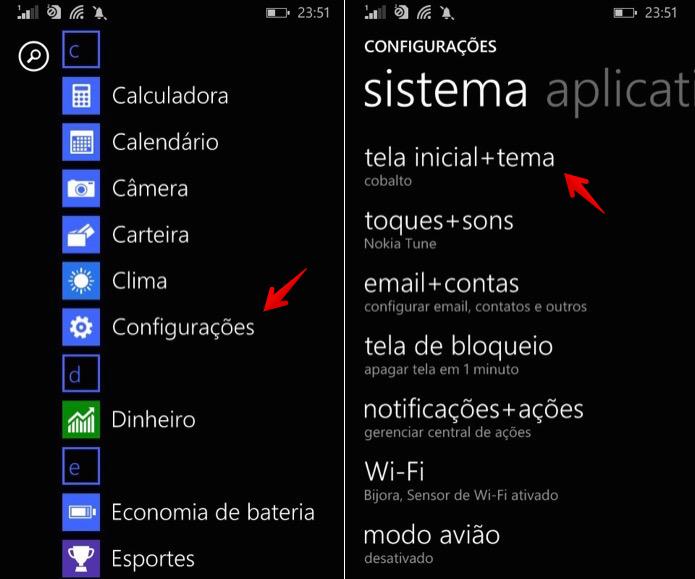 Acesse as configurações de tema do Windows Phone (Foto: Reprodução/Helito Bijora)