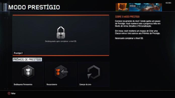 Call of Duty: Black Ops 3: use o modo prestígio depois de alcançar o nível 55 no multiplayer (Foto: Reprodução/Victor Teixeira)