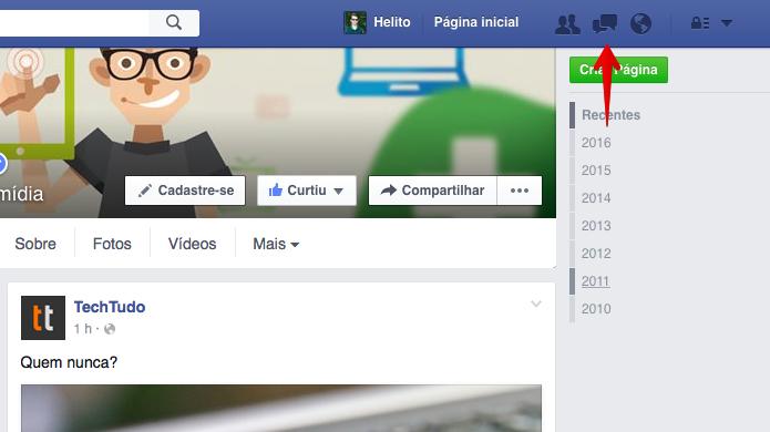 Acesse o chat do Facebook (Foto: Reprodução/Helito Bijora)