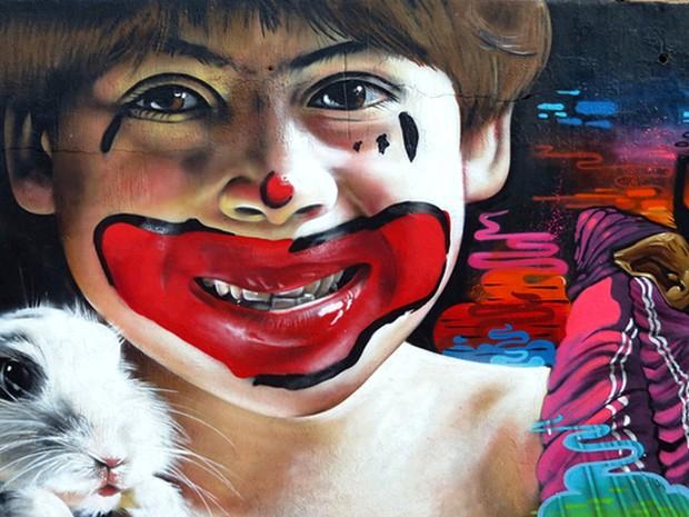 Grafite de Nilo Zack, no bairro Taquaril, na Região Leste de Belo Horizonte (Foto: Nilo Zack/ Arquivo pessoal)