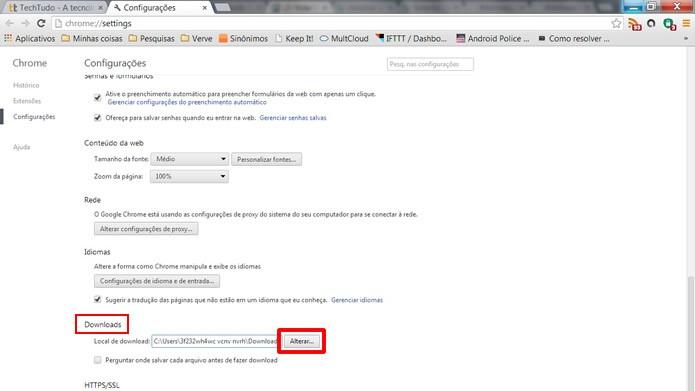 """Clique no comando """"Alterar"""", referente à alternativa """"Downloads"""" (Foto: Reprodução/Daniel Ribeiro)"""