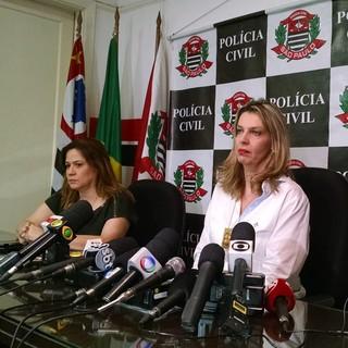 Delegada Margarete Barreto, titular do Drade-SP, e delegada Kelly de Andrade, da Polícia Civil de São Paulo (Foto: Leonardo Lourenço)