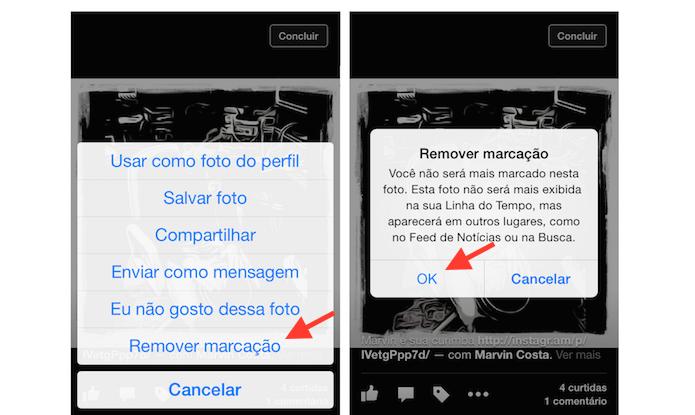 Retirando a marcação de uma foto do Facebook pelo iPhone (Foto: Reprodução/Marvin Costa)
