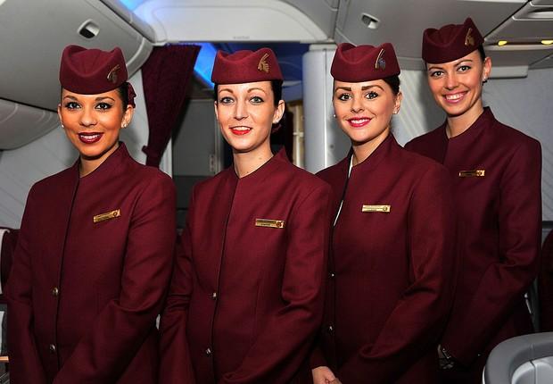 Comissárias da Qatar Airways (Foto: Larry French/Getty Images for Qatar Airways)
