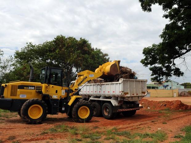 Sujeira sendo recolhida de terreno no Gama (Foto: Gabriel Jabur/Agência Brasília)