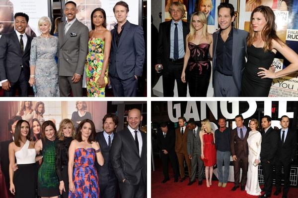 Parte dos elencos de Beleza Colateral (2017), Como Você Sabe? (2010), Sete Dias Sem Fim (2014) e Caça aos Gângsteres (2013) (Foto: Getty Images)