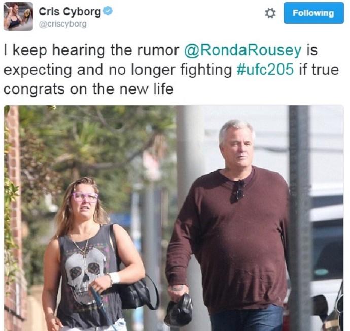 Cris Cyborg Ronda Rousey grávida (Foto: Reprodução: Twitter)