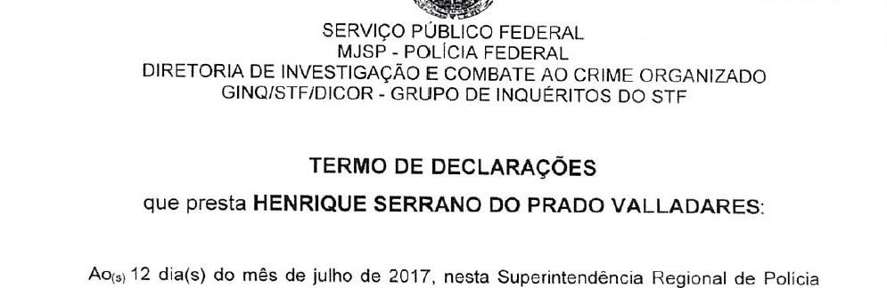 Trecho de depoimento do ex-diretor da Odebrecht Henrique Valladares à PF (Foto: Reprodução)