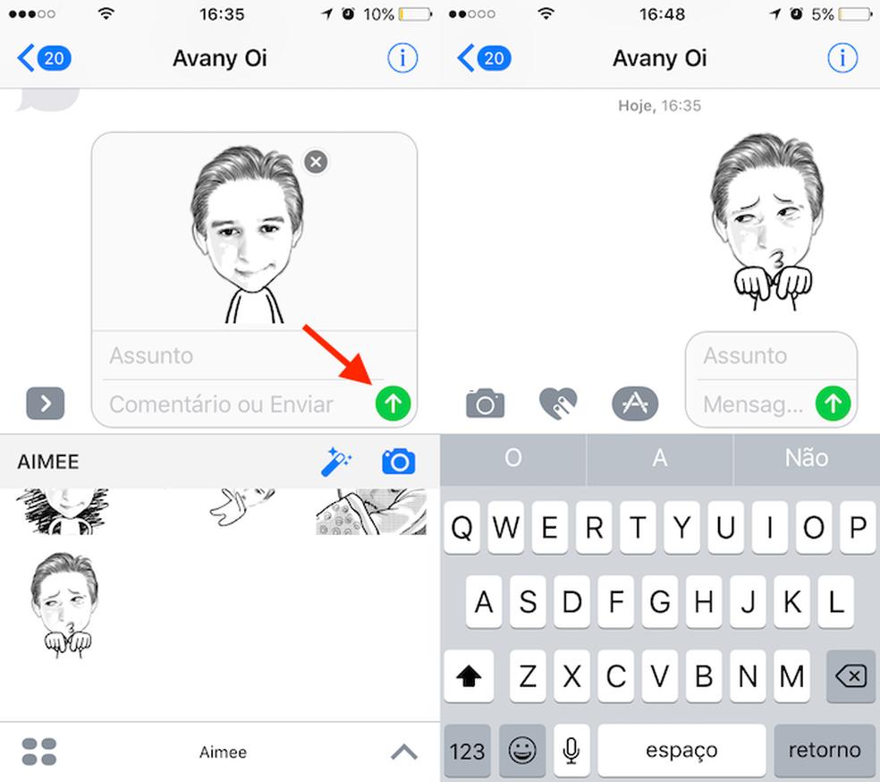 Opção para enviar uma mensagem com GIF no AiMee para iPhone (Foto: Reprodução/Marvin Costa)